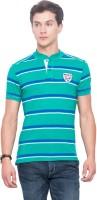 Mufti Striped Men Mandarin Collar Green T-Shirt