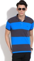 United Colors of Benetton Striped Mens Polo Neck Grey, Blue T-Shirt