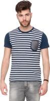 Mufti Striped Men Round Neck Blue T-Shirt