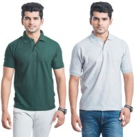 DoubleF Solid Men's Polo Neck Multicolor T-Shirt(Pack of 2)