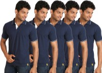 Campus Sutra Solid Men Polo Neck Dark Blue T-Shirt(Pack of 5)