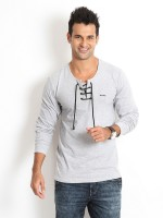 Rodid Solid Men's Henley Grey T-Shirt