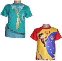 Chhota Bheem Boys Printed Cotton T Shirt(Blue, Pack of 2)