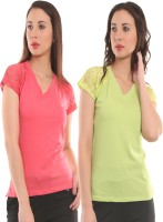 Ultra Fit Solid Women's V-neck Pink, Green T-Shirt(Pack of 2)