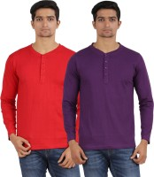 Arowana Solid Men's Henley Red, Purple T-Shirt(Pack of 2)