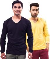Unisopent Designs Solid Mens V-neck Dark Blue, Yellow T-Shirt(Pack of 2)