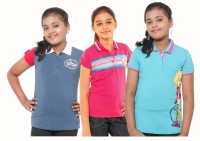Menthol Girls Printed, Striped T Shirt(Multicolor)