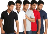Campus Sutra Solid Men Polo Neck Black, Blue, Grey, White, Red T-Shirt(Pack of 5)