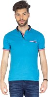 Mufti Solid Men's Henley Blue T-Shirt