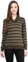Hypernation Striped Womens Draped Neck Green T-Shirt