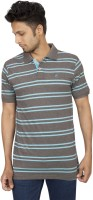 Red Line Striped Men Polo Neck Blue, Grey T-Shirt