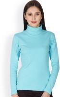 Hypernation Solid Women's Turtle Neck Light Blue T-Shirt