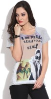 United Colors of Benetton. Printed Women's Round Neck Grey T-Shirt