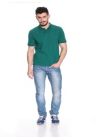Pure Play Solid Men Polo Neck Green T-Shirt