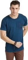 Breakbounce Solid Men's Round Neck Blue T-Shirt