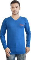 Al-Harsha Trend Solid Mens V-neck Blue T-Shirt