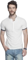Tinted Solid Mens Henley White T-Shirt