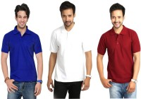 Keep Sake Solid Mens Polo Neck Multicolor T-Shirt(Pack of 3)