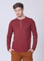 Breakbounce Solid Men's Henley Red T-Shirt