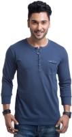 Cult Fiction Solid Mens Henley Blue T-Shirt