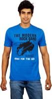 Red Line Graphic Print Men Round Neck Blue T-Shirt