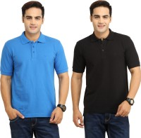 WallWest Solid Mens Polo Neck Multicolor T-Shirt(Pack of 2)