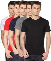 TOMO Solid Mens Round Neck Black, Grey, Dark Blue, Red, White T-Shirt(Pack of 5)