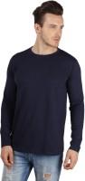 SayItLoud Solid Men's Round Neck Dark Blue T-Shirt