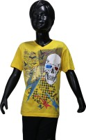 Starsy Boys Printed Cotton T Shirt(Yellow, Pack of 1)