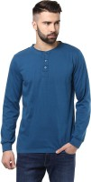 Unisopent Designs Solid Mens Henley Dark Blue T-Shirt