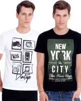 Elaborado Solid Men's Round Neck Black, White T-Shirt(Pack of 2)