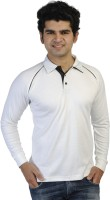 T10 Sports Solid Mens Polo Neck White T-Shirt