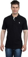 The Cotton Company Solid Mens Polo Neck Black T-Shirt