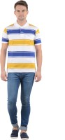 Norwood Striped Men's Polo Neck Blue, Yellow, White T-Shirt