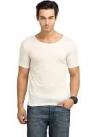 Fio Solid Men's Round Neck White T-Shirt