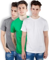 TOMO Solid Mens Round Neck Grey, Green, White T-Shirt(Pack of 3)