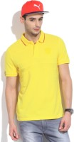 Puma Solid Mens Mandarin Collar Yellow T-Shirt