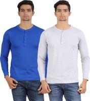 Arowana Solid Men's Henley Blue, Grey T-Shirt(Pack of 2)