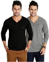 Rodid Solid Men's V-neck Black, Grey T-Shirt(Pack of 2)