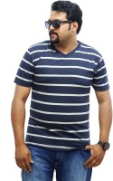 East West Striped Men's V-neck Blue, Grey T-Shirt