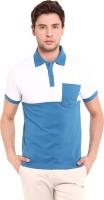 Elaborado Solid Mens Polo Neck White, Blue T-Shirt
