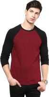Izinc Solid Men Round Neck Maroon T-Shirt