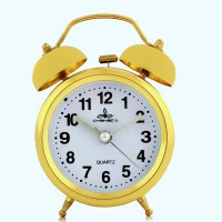 Fiesta Chengdu Golden Alarm Analog Golden, Black Clock