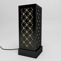 DecorNation Japanese Circle Pattern Table Lamp(45.7 cm, Black)