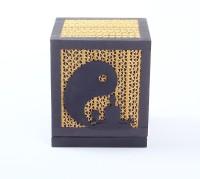 Sylvn Studio Yin Yang Yoga Table Lamp(14 cm, Brown, Black)