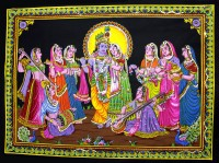 Amazing India Lord Krishna & Radha Gopi Sequin Cotton Wall Hanging Aisbl007 God & Goddess Tapestry(Multicolor)