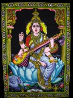 Amazing India Goddess Saraswati Tapestry Sequin Cotton Wall Hanging AISBL016 Goddess Tapestry(Multicolor)