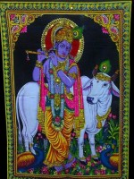 Amazing India Lord Krishna & Cow Sequin Cotton Wall Hanging AISBM003 God Tapestry(Multicolor)