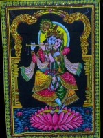 Amazing India Lord Krishna & Radha Lotus Sequin Cotton Wall Hanging AISBL004 God Tapestry(Multicolor)