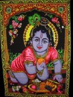 Amazing India Baby Krishna Bal Gopal Janmashtmi Special Sequin Cotton Wall Hanging Aisbm005 God Tapestry(Multicolor)